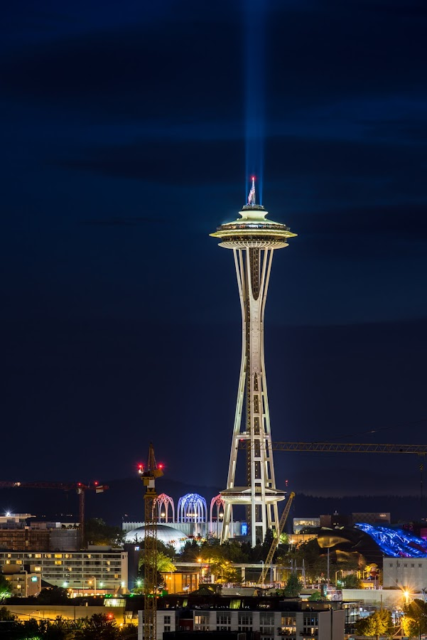 4th of July at the Space Needle by Richard Wood - Buildings & Architecture Statues & Monuments ( seattle center, space needle, flag, stars and stripes, 4th of july, us flag, usa )
