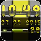 Digi-Uhr schwarz Lime-widget icon