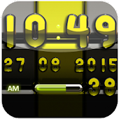Digi Clock black lime widget