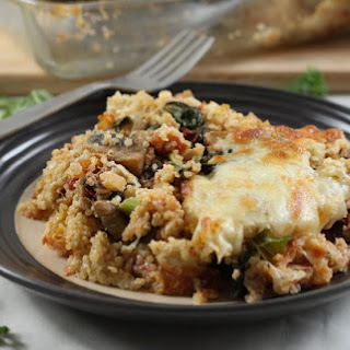 Creamy Portobello And Kale Quinoa Bake