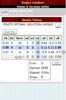 Screenshot of Simplex Algorithm Calculator