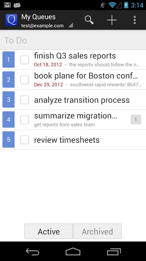 GQueues | Tasks & To-Do Lists - screenshot