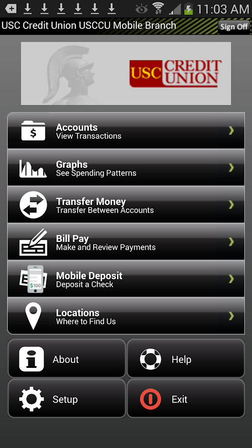 USC Credit Union Mobile Branch - screenshot
