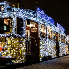 Light Tram by István Decsi - Transportation Other ( urban, hungary, budapest, lifestyle, christmas, tram, light_tram, city,  )