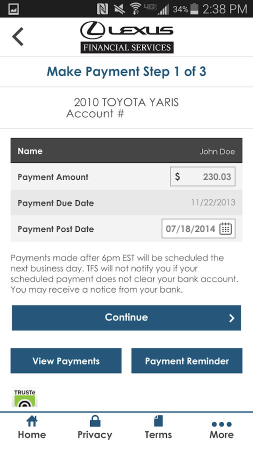 Mylfs lexus financial android apps on google play for Toyota motor credit phone number