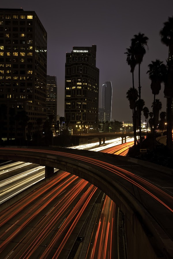Moving About To and Fro by Patrick Flood - City,  Street & Park  Night ( canon, night scene, metro, california, electric, losangeles, art, beautiful, pixoto, journey, architecture, network, photosbyflood, fineart, headlights, patrick flood, long exposure, downtown )