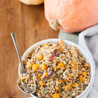 Butternut Squash Brown Rice w/ Rosemary Caramelized Onions