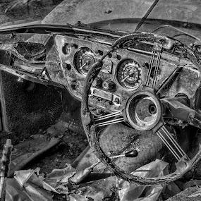 Abandoned Car by Simon Sweetman - Black & White Objects & Still Life ( car, urban exploration, dash, wheel, automobile, board, abandoned,  )
