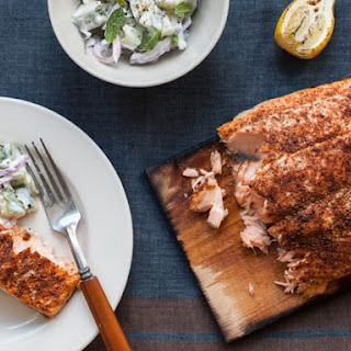 Classic Rubbed Planked Salmon with Cucumber Sauce