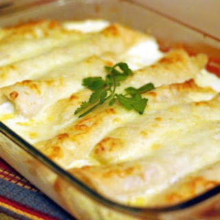 Caramelized Onion and Cream Cheese Chicken Enchilidas.