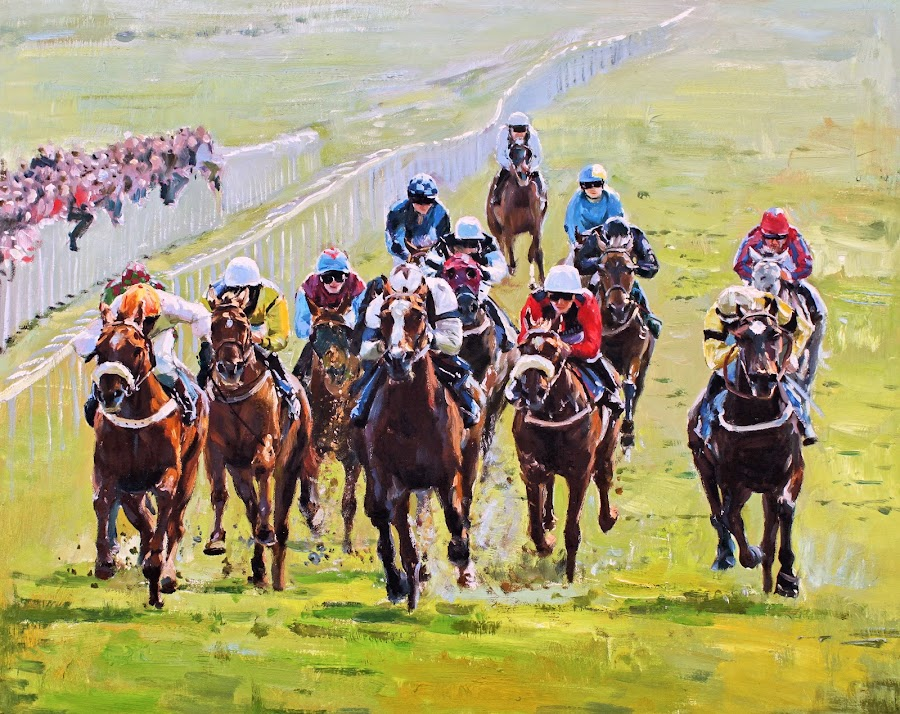 OUTSIDE CHANCE by Conor McGuire - Painting All Painting ( race horse, horse race, horse race ireland, horse racing curragh )