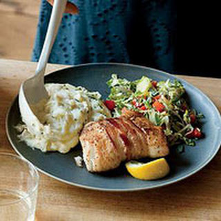 Bacon-Wrapped Halibut with Shredded Brussels Sprouts and Mashed Potatoes.