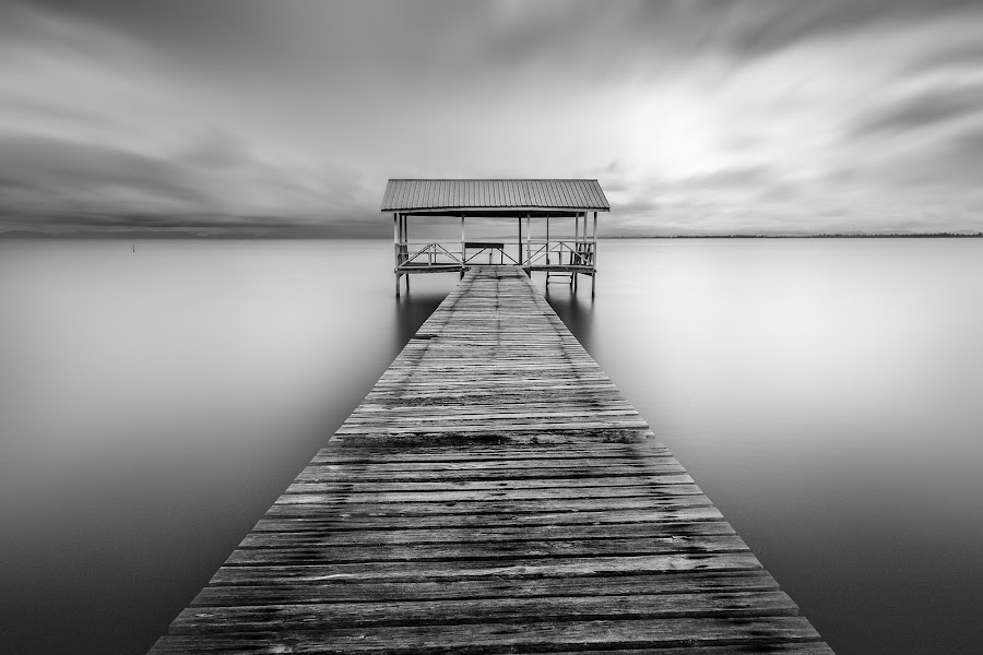 Jetty by Abi Danial - Black & White Landscapes ( monochrome, black and white, seascapes, mood, jetty )
