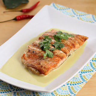 Grilled Salmon with Lemongrass & Coconut Sauce.