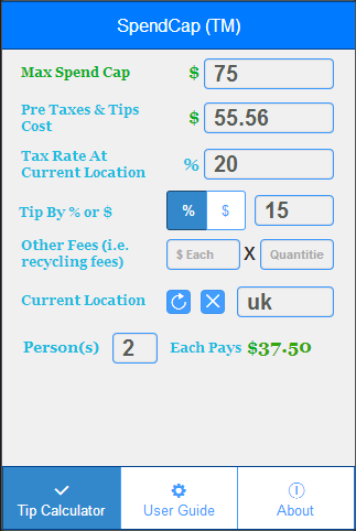SpendCap Tax Tip Calculator