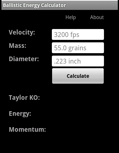 Ballistic Energy Calc- screenshot