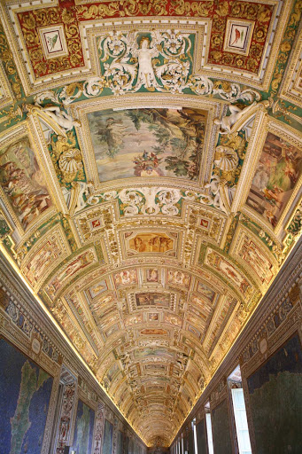 Vatican-Museums-Gallery-of-Maps-ceiling - Visit the Vatican Museums as part of your Rome excursion, and linger at the 16th-century Gallery of Maps to gaze on the beautiful ceiling frescoes.