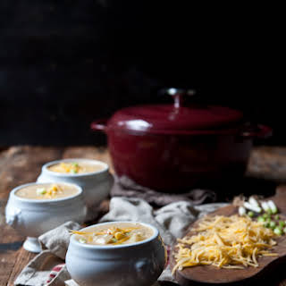 Roasted Garlic and Potato Beer Cheese Soup.