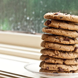Salt-Kissed Chunky Peanut Butter Vegan Chocolate Chip Cookies.