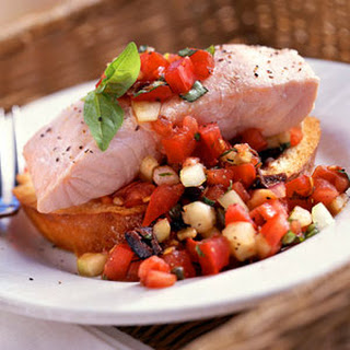 Chilled Poached Salmon with Panzanella.