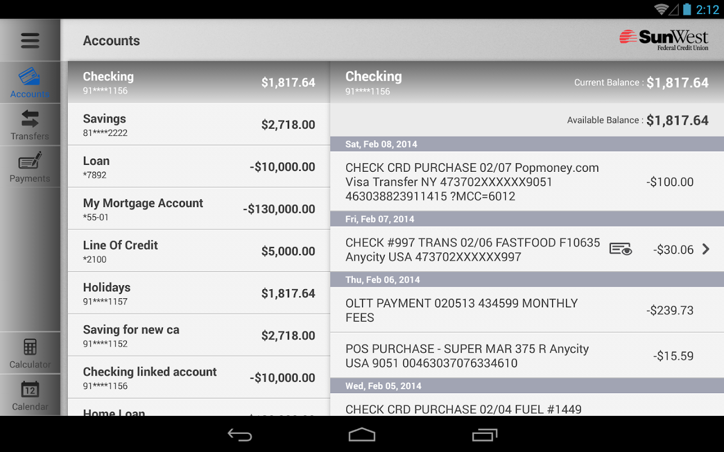 SunWest FCU Mobile  - Tablet- screenshot