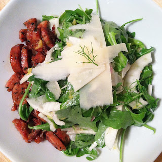Fennel and Arugula Salad with Pan Seared Chicken Sausage