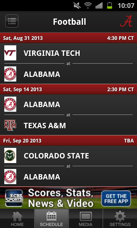 University of Alabama Sports - screenshot