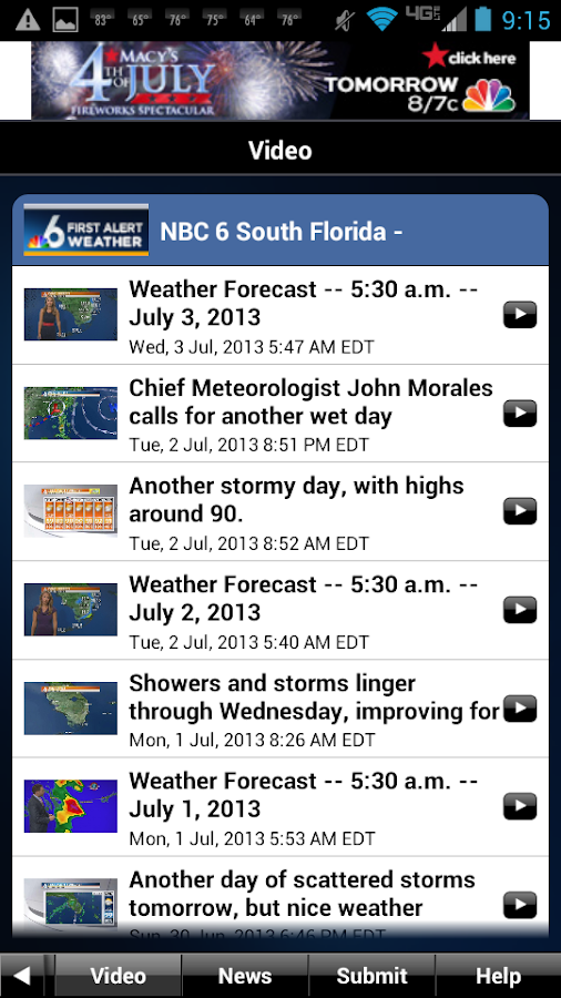NBC 6 South Florida Weather - screenshot