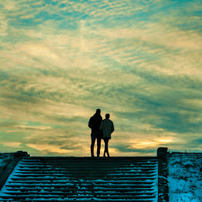 Romance at sunset by Matei Edu - People Couples ( clouds, stairs, sunset, romania, couple, romance, shadows, improving mood, moods, red, love, the mood factory, inspirational, passion, passionate, enthusiasm,  )