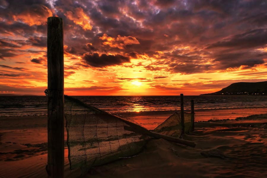 Day's End by Mike Shields - Landscapes Sunsets & Sunrises ( clouds, sand, sky, sunset, dramatic, sea,  )