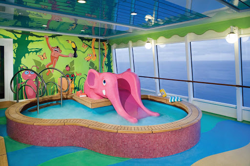 Norwegian-Jade-Kids-Pool - The Sapphire children's pool features an elephant-shaped slide and paddling pool, designed especially for Norwegian Jade's kiddie guests.