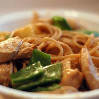 Chicken Pasta with Peanut Butter Sauce.