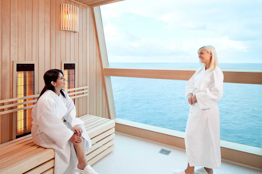 Celebrity_Reflection_InfraredSauna - You and your friends will enjoy relaxing in Celebrity Reflections' Infrared Sauna while soaking up the spectacular scenery.