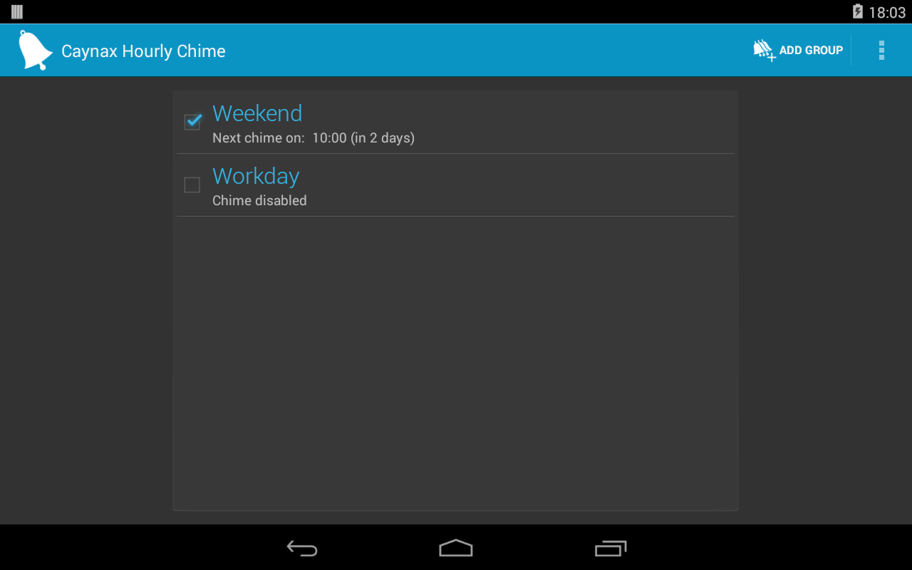 Hourly chime - screenshot