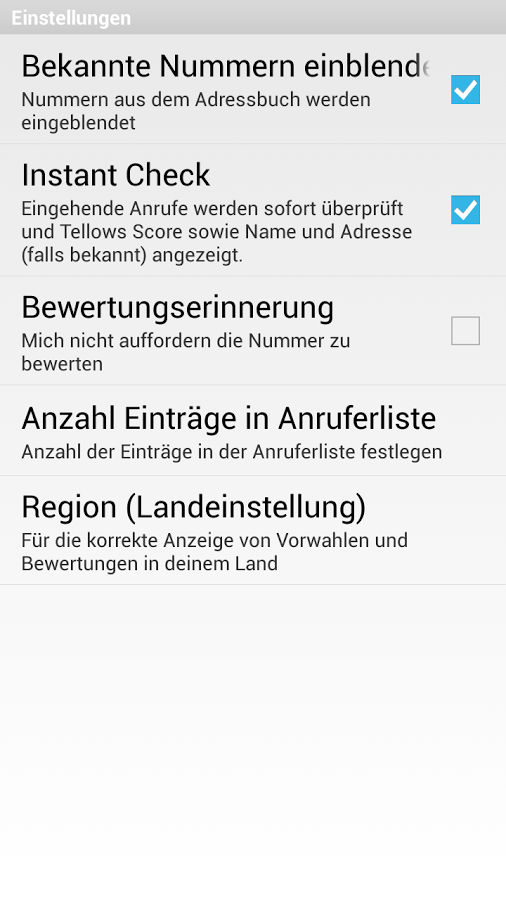 tellows Anruferkennung – Screenshot