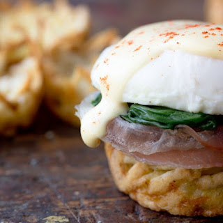 Eggs Florentine in Hash Brown Nests.