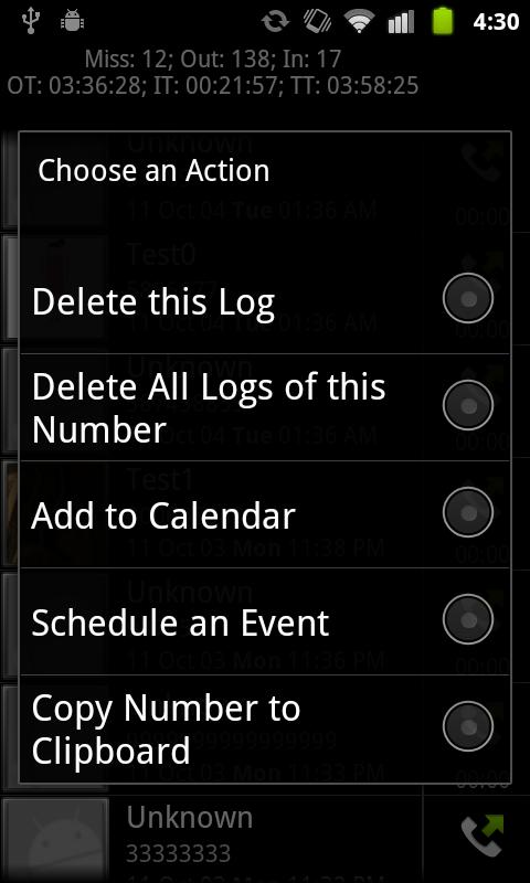 Advanced Phone Log - screenshot