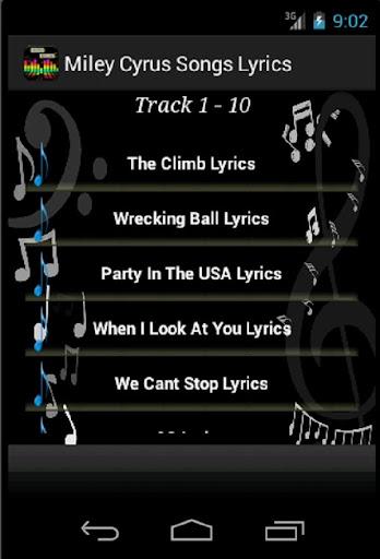 Miley Cyrus Songs Lyrics