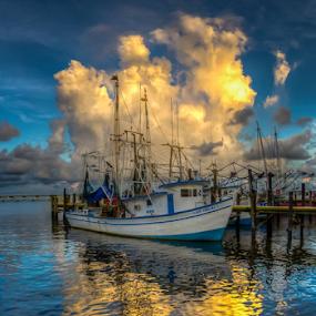 Shrimp Catcher by Victor Martin - Transportation Boats ( water, reflection, shrimp, gulf, boat, mississippi, device, transportation,  )
