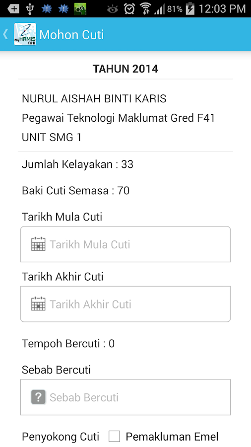MyHRMIS Cuti- screenshot
