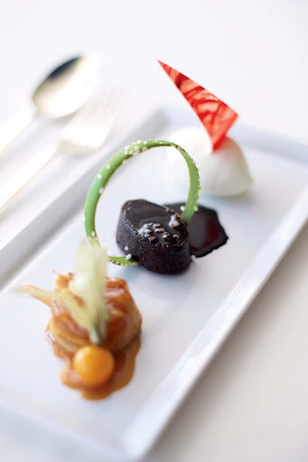 An exotic, Nobu-style dessert ends the evening on a sweet note while dining on a Crystal cruise.