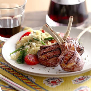 Lamb Chops with Spinach Tomato Couscous.