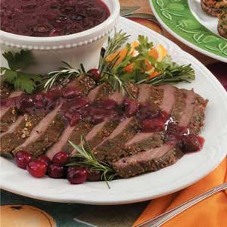 Flank Steak with Cranberry Sauce