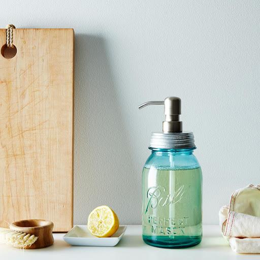 Vintage Blue Mason Quart Jar & Soap Dispenser