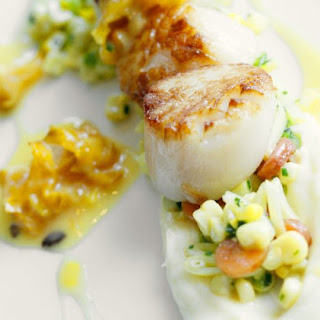 Seared Scallops With Carambola Sauce, Parsnip And Succotash.