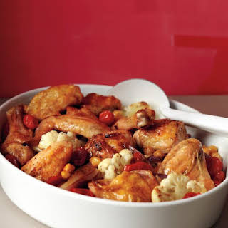 Roasted Chicken with Cauliflower and Chickpeas.