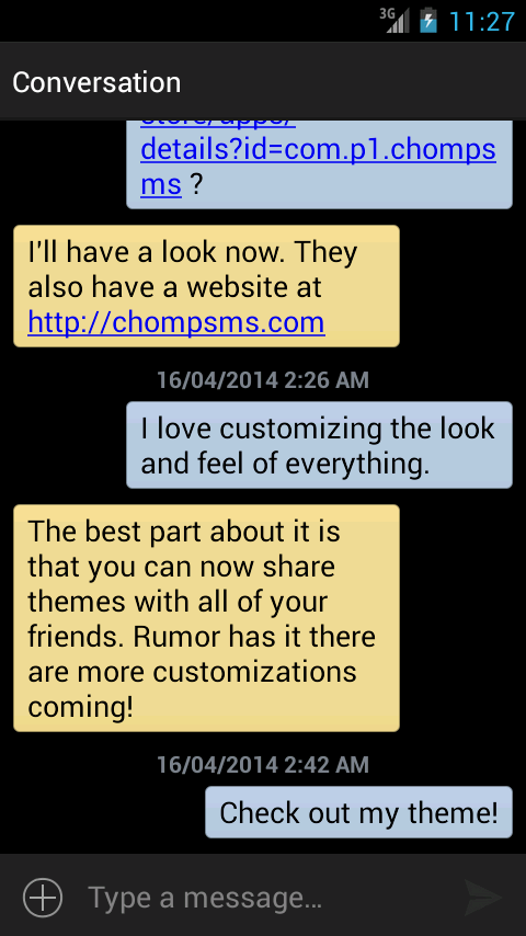 chomp SMS theme add-on - screenshot