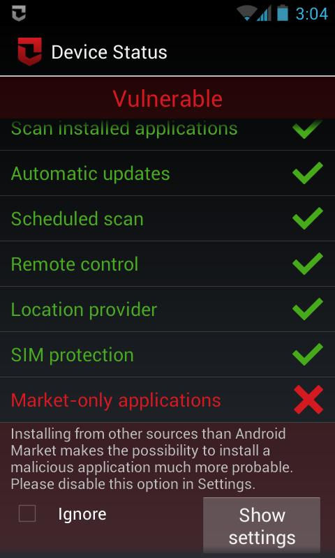 Zoner Mobile Security - screenshot