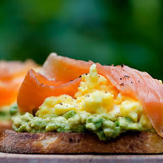 Open Face Sandwiches with Avocado, Egg and Smoked Salmon.