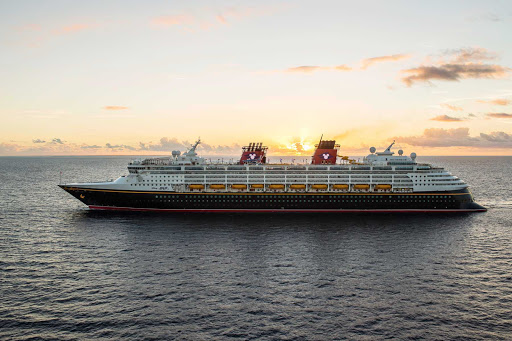 Disney-Magic-at-sea - Disney Magic sails in tranquil seas at sunset to its next port of call. Itineraries include the Western Caribbean, Southern Caribbean, Bahamas, Northern Europe, Norwegian fjords, Iceland, Barcelona and elsewhere.